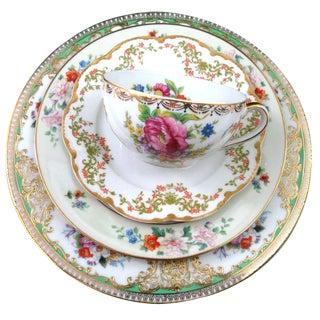 Vintage Mismatched Fine China, 5 Pc Place Setting