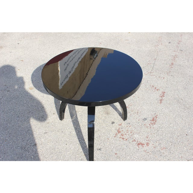 French Art Deco Black Lacquer ''Spider Leg'' Side Table - Image 9 of 10
