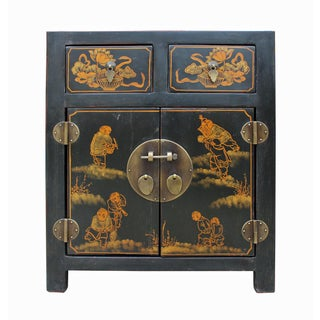 Chinese Black Lacquer Figural Painted End Cabinet or Nightstand