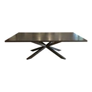 Steel Pedestal Based Wood Dining Table