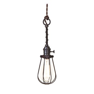 Oval Cage Trouble Light Pendant With Switch Socket