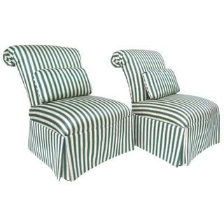 Henredon Striped Silk Slipper Chairs - a Pair