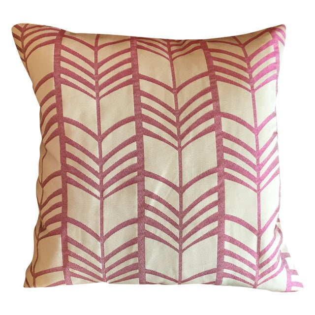 Pink & Ivory Graphic Throw Pillow with Insert - Image 1 of 5