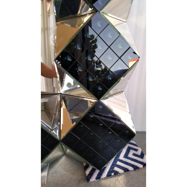 3 d smoke glass floor mirror chairish for Glass floor mirror