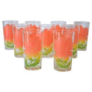 Vintage Flower Tumblers - Set of 9