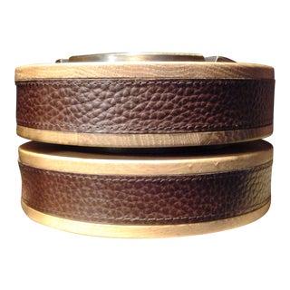 Vintage Bronze, Oak & Leather Ashtrays - a Pair