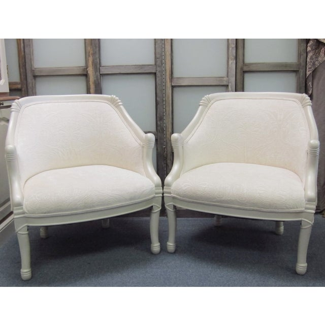 Vintage Pearl Damask Chairs - A Pair - Image 4 of 10