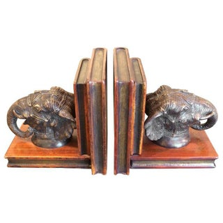 Bronze Elephant and Carved Wood Bookends - Pair