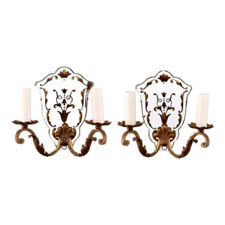 Italian Gilded Two Light Mirror Back Sconces - Pair