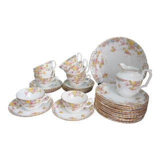 Antique English Hand-Painted Floral Tea Service - Set of 9