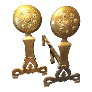 Antique Colonial Brass & Iron Andirons- A Pair