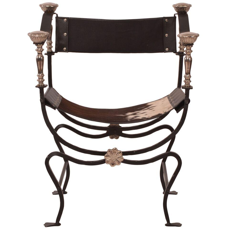 Directoire style cowhide sling chair chairish