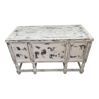 Antique Shabby Chic Annie Sloane Chalk Paris Gray Paint Storage Trunk