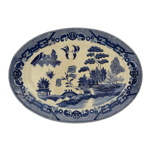 Traditional Japanese Blue Willow Platter - Image 1 of 5