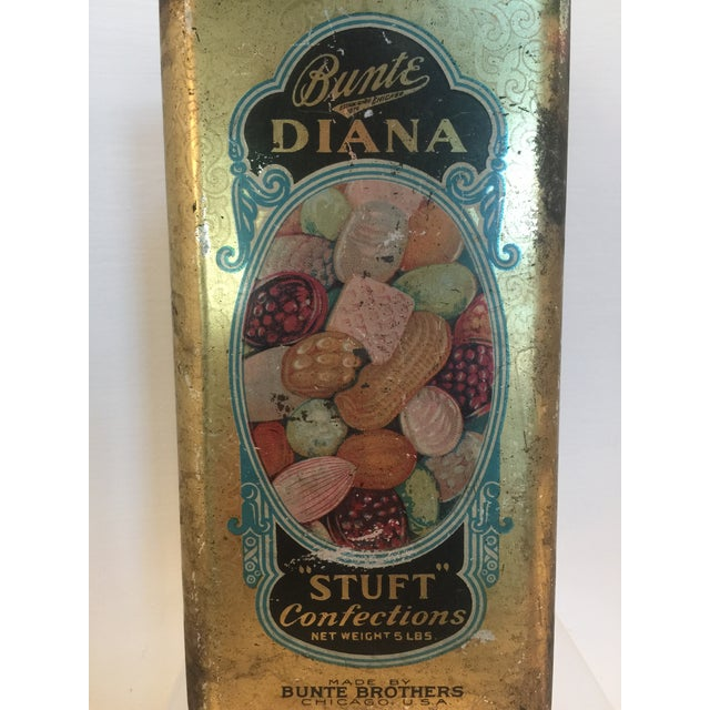 Image of 1920's Vintage Bunte Brothers Diana Stuft Confections Tin