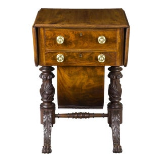 Classical Carved Mahogany Sewing Stand with Full Acanthus Carved Legs