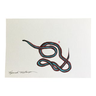 Hannah McPherson Neon Blue Garter Snake Original Painting