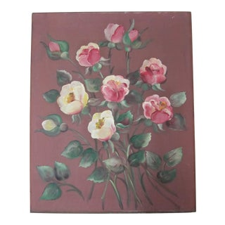 1940's Rose Painting on Silk