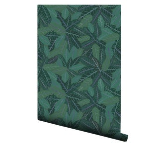 Croton Meadow Pre-Pasted Green Wallpaper