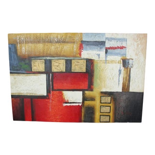 """B. Young """"Red Black Gold #2"""" Abstract Expressionist Oil Painting"""