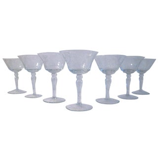 Etched Sunflower Cocktail Glasses - Set of 7