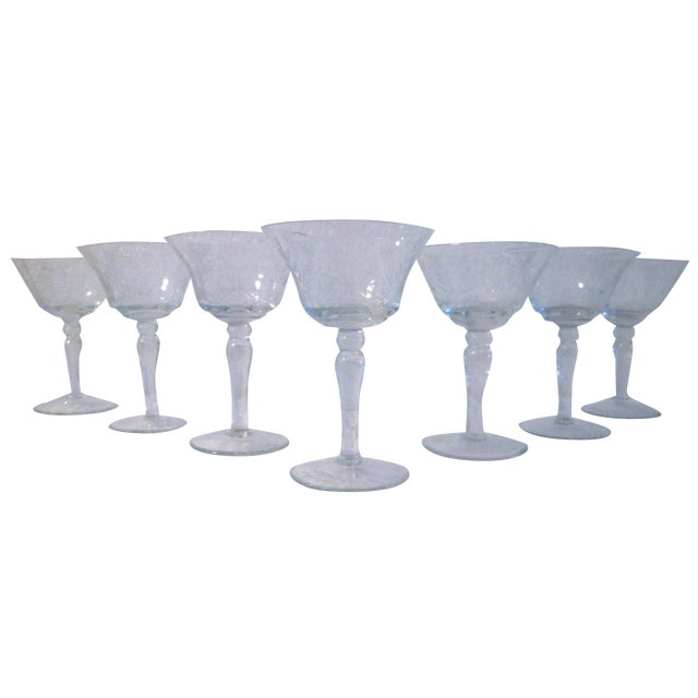 Image of Etched Sunflower Cocktail Glasses - Set of 7