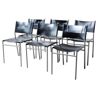 Martin Visser Leather and Chrome Dining Chairs - Set of 6