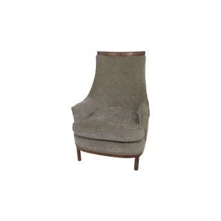 Mid-Century Grey Chenille Lounge Chair