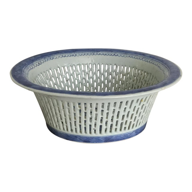 Chinese Canton Blue & White Basket - Image 1 of 7