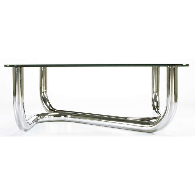 Image of Sinuous Chrome and Glass Coffee Table