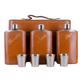 Vintage Leather Travel Liquor Flask Set