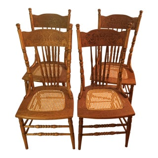 Oak Press Back Cane Chairs - Set of 4