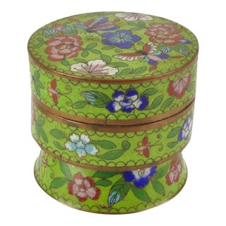 Chinese Cloisonné Covered Butterfly Pedestal Box