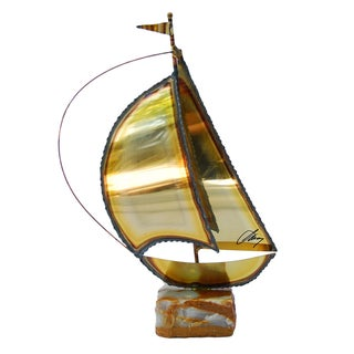 Brutalist Style Signed Brass Sailboat
