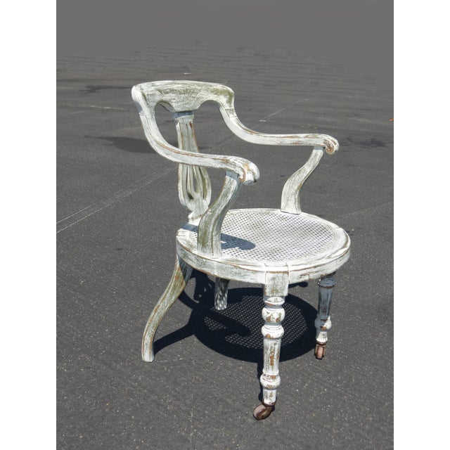 French White Cane Accent Arm Chair on Castors - Image 3 of 11