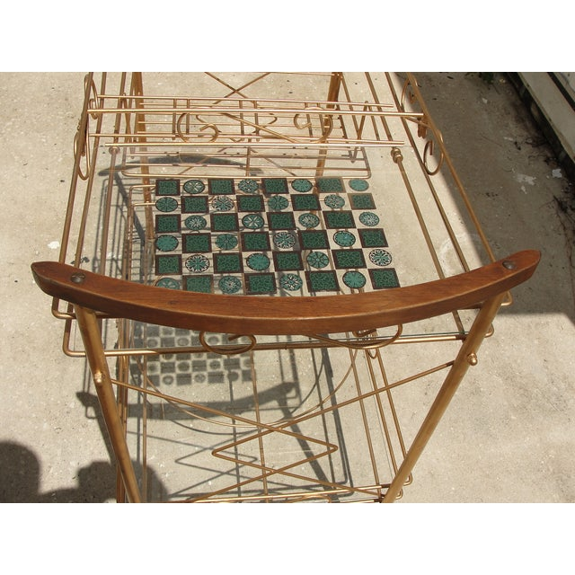 1950s Atomic-Style Rolling Bar Cart - Image 10 of 10