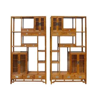 Oriental Huali Rosewood Display Cabinet - A Pair