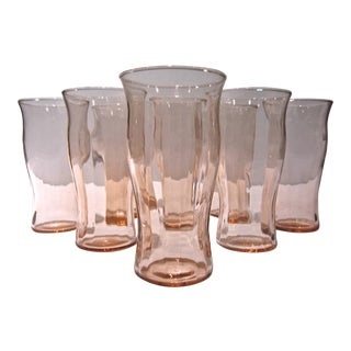Mid-Century Pink Glasses - Set of 8