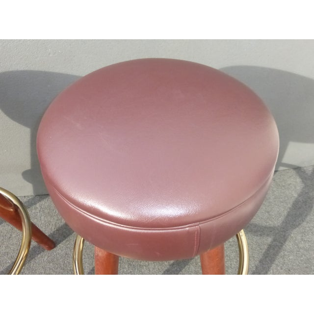 Mid-Century Modern Brown Vinyl Bar Stools - A Pair - Image 8 of 11