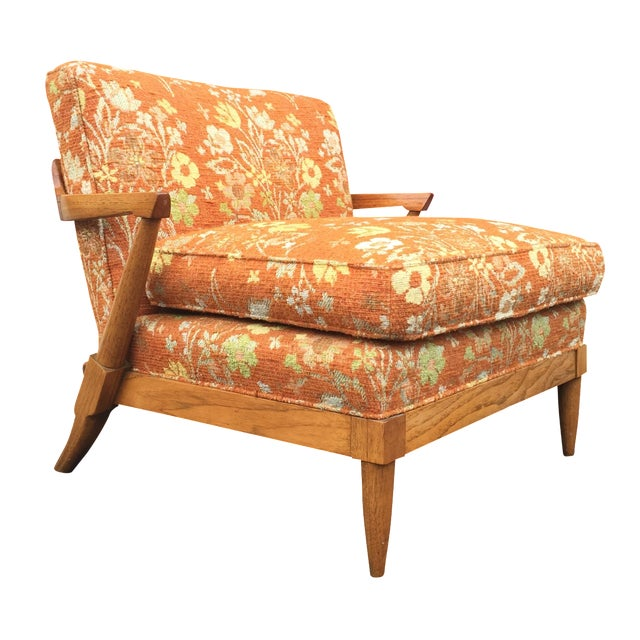 Mid-Century Orange Floral Lounger - Image 1 of 10