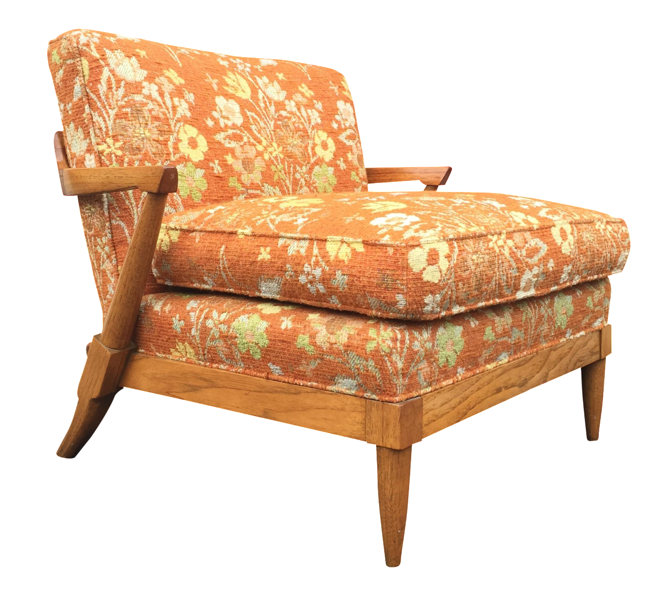Mid Century Orange Floral Lounger