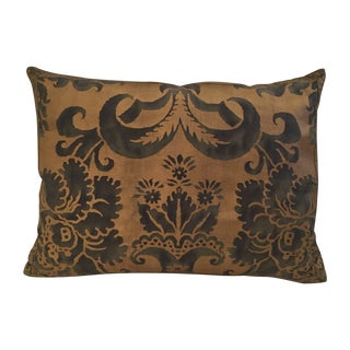 "Fortuny ""Glicine"" Pillow - Green and Gold"