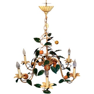 Vintage French Lemon Tole Chandelier