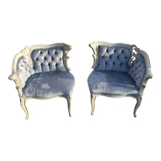 French Provincial Blue Tufted Velvet Chairs - A Pair