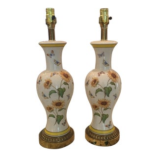 Porcelain Lamps with Sunflowers and Butterflies - Pair