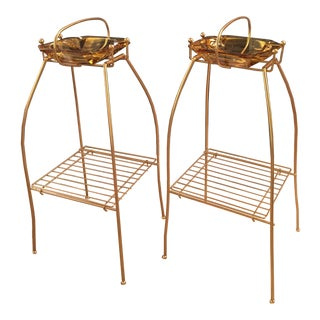 Mid-Century Gold Metal & Honey Glass Ashtray Stands - A Pair