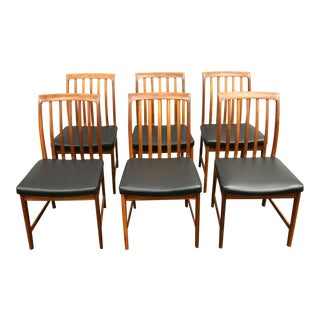Set of Six Walnut and Teak Dining Chairs by Folke Ohlsson For Dux, circa 1960