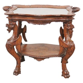 Italian Style Carved Walnut Tray Top Table
