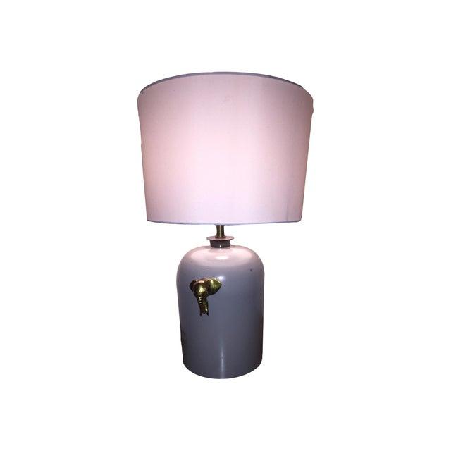 Image of Large Gray & Brass Pottery Stoneware Lamp