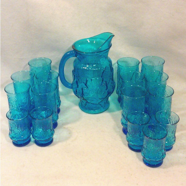 Turquoise Glass Pitcher and Tumblers Set of 17 - Image 3 of 6
